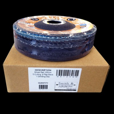 """125mm, 5"""" Mixed Pack - 8 Discs *Cutting, Flap, Grinding*"""